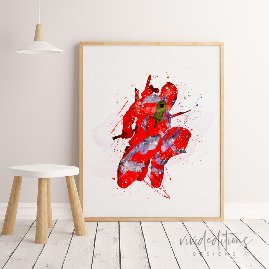 923x923 Amazing Deadpool Superhero Watercolor Playroomnursery Art Print