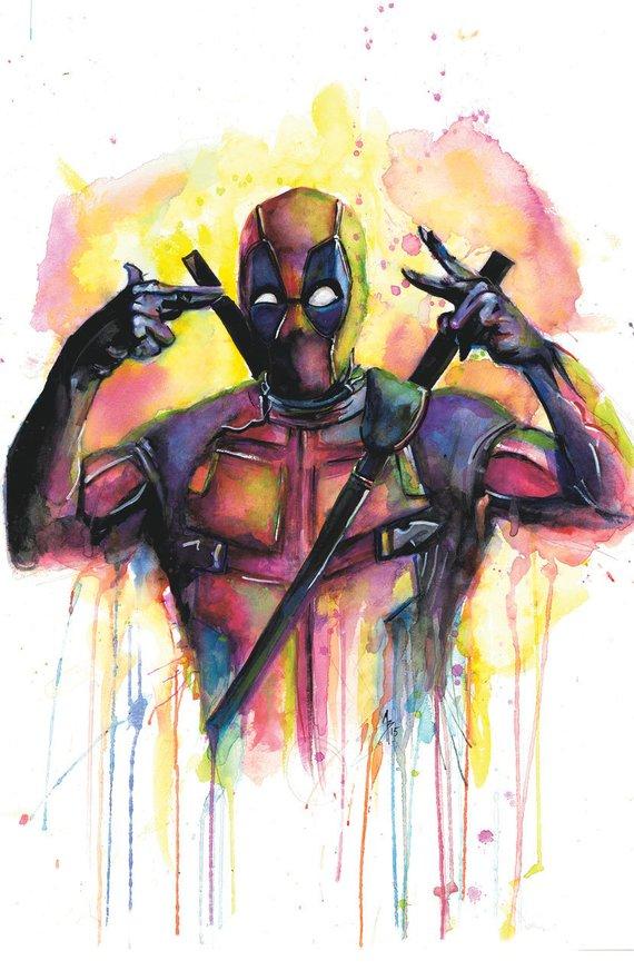 570x881 Deadpool Watercolor Print Poster Etsy