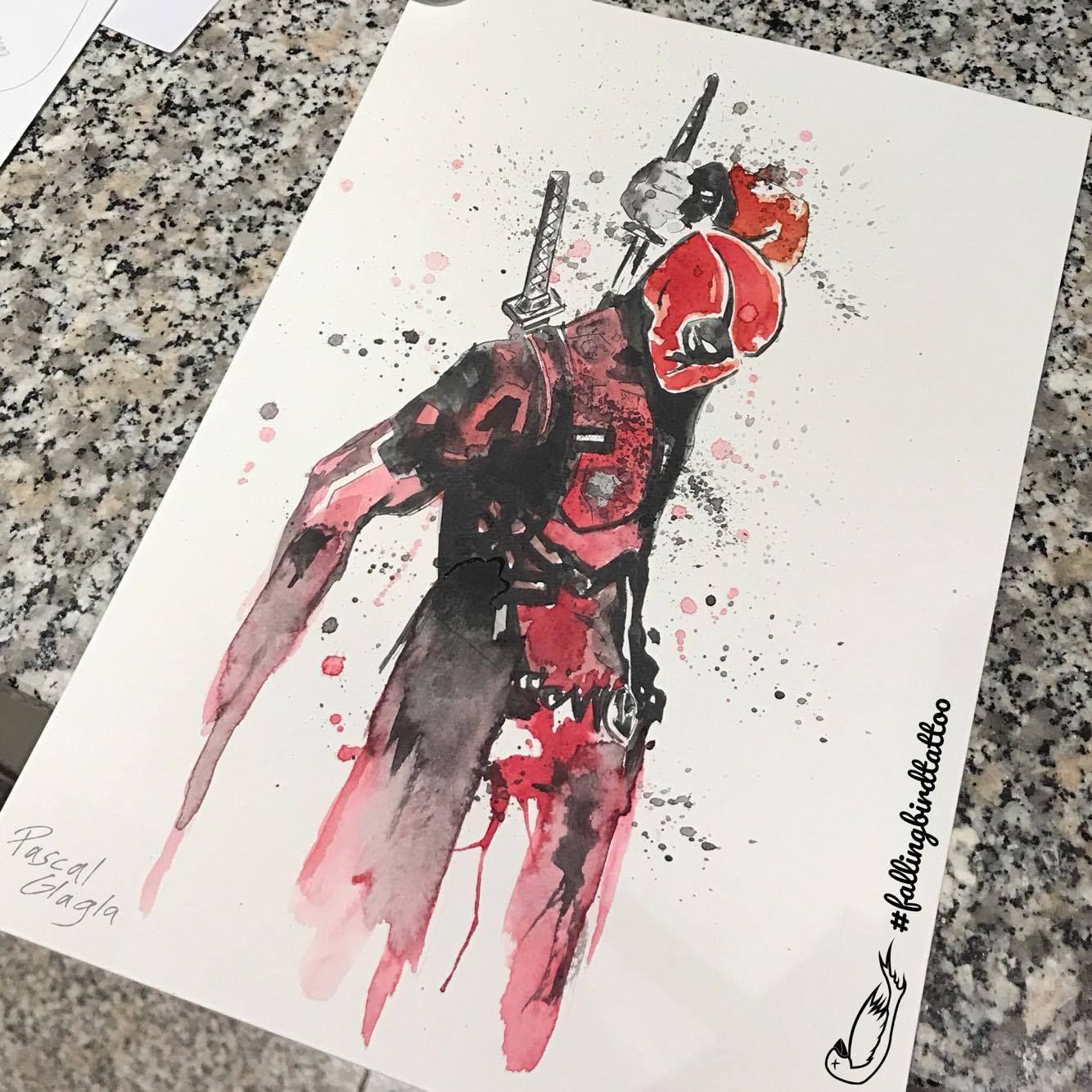 1334x1334 Deadpool Watercolor Tattoo Watercolour Wasserfarben Sketch Drawing