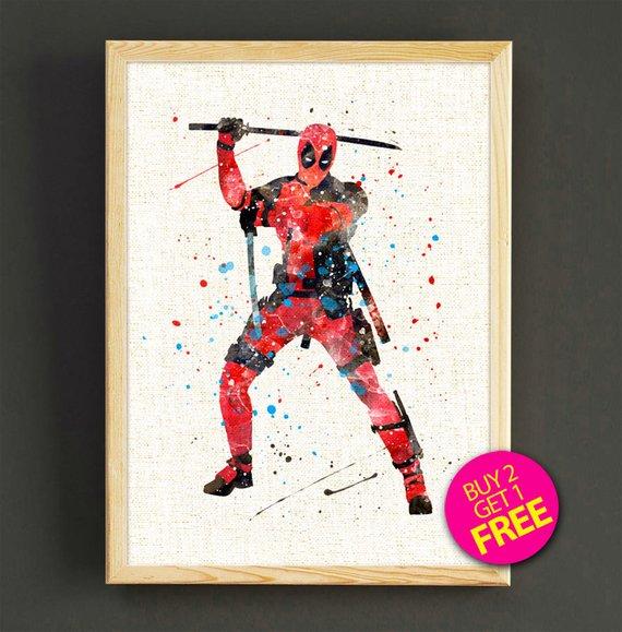 570x579 Deadpool Print Deadpool Watercolor Print Deadpool Poster Etsy