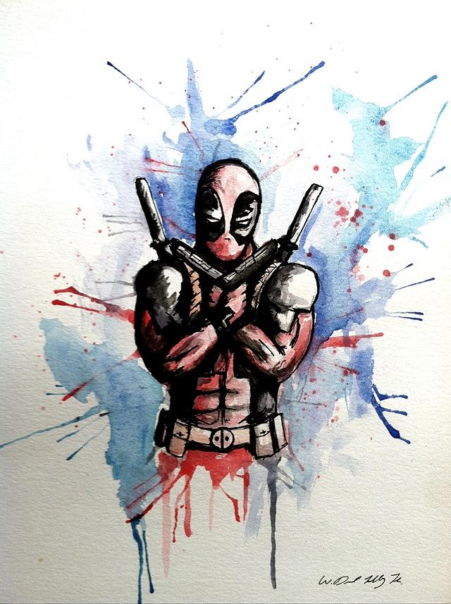640x857 Deadpool Watercolor (Oc)