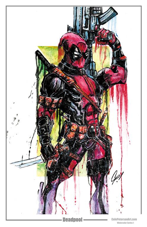 498x769 Deadpool Watercolor Print