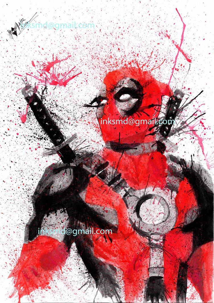752x1063 Deadpool Watercolour By Spydi Mel