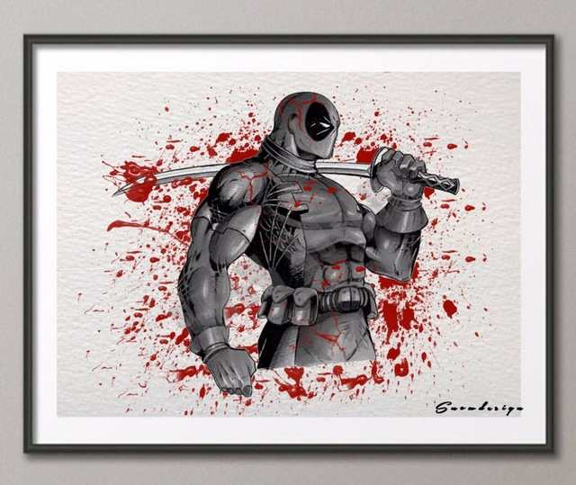 640x539 Diy Original Watercolor Deadpool Canvas Painting Wall Art Poster