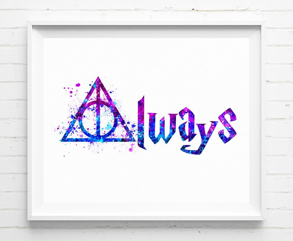 994x820 Harry Potter Deathly Hallows Always Art Print Poster Watercolor