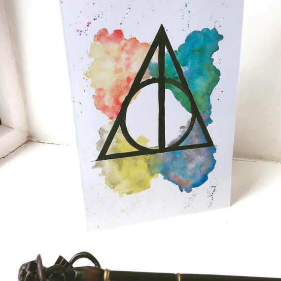 570x570 Harry Potter Deathly Hallows Watercolour A4 Amp A5 Print Etsy