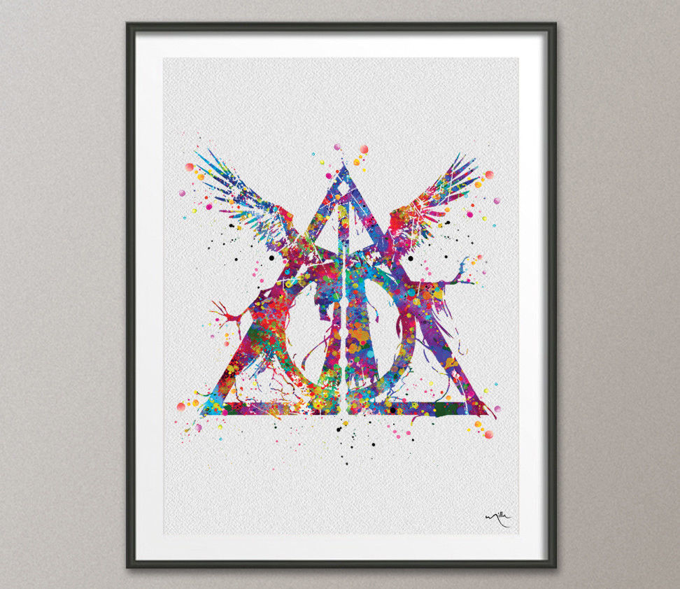972x842 Deathly Hallows Three Brothers Tale Harry Potter Watercolor Print
