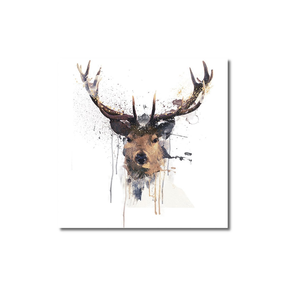 1200x1200 Deer Head Animal Modern Canvas Print Poster Watercolor Painting