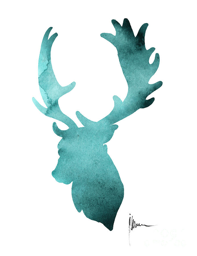 692x900 Deer Head Silhouette Painting Watercolor Art Print Painting By