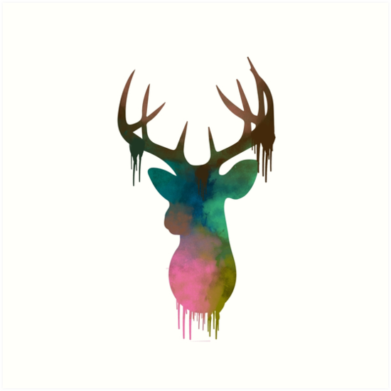 550x550 Deer Head Watercolor Art Prints By Donna Venables Redbubble