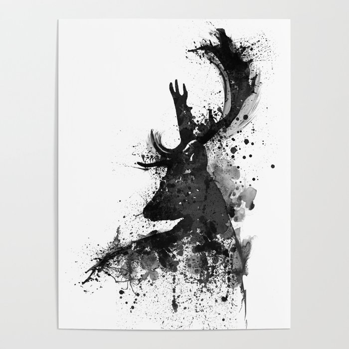700x700 Deer Head Watercolor Silhouette