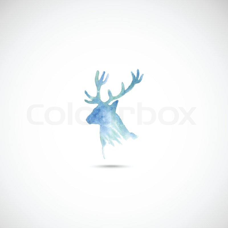800x800 Abstract Watercolor Deer Head. Vector For You. Stock Vector