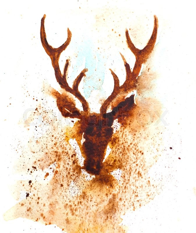 673x800 Deer Head Watercolor Style Stock Photo Colourbox