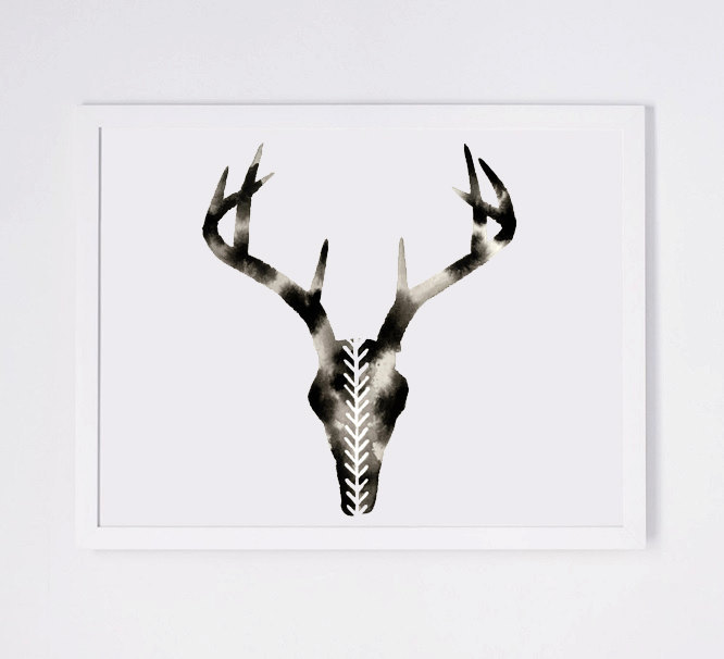 666x606 Geometric Deer Skull Print, Modern Watercolor By Geometricink