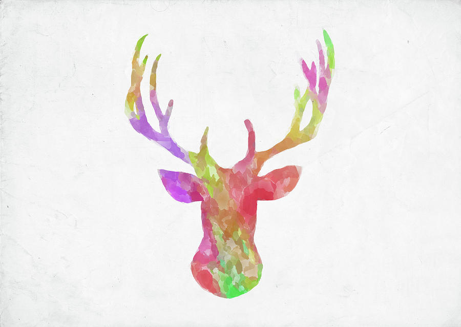 900x638 Minimal Abstract Deer Head Watercolor Digital Art By Ricky Barnard