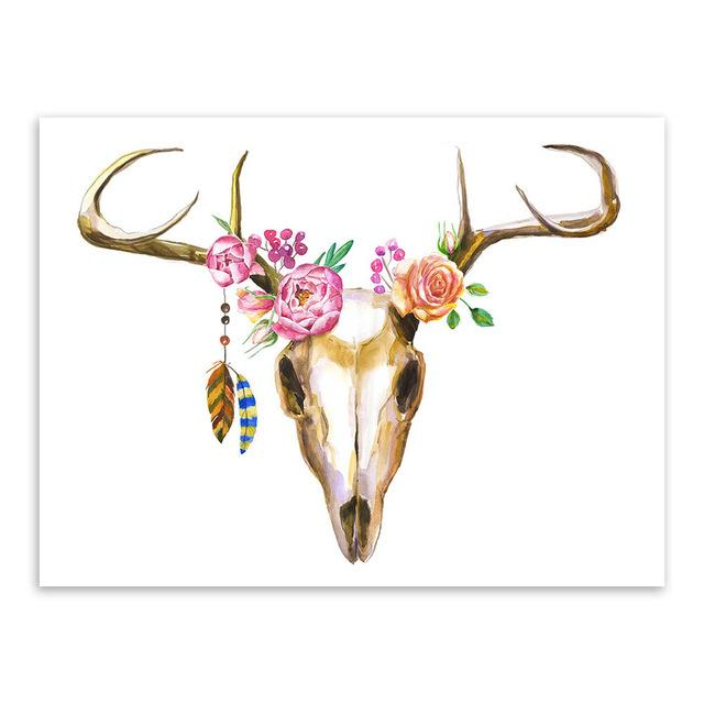 640x640 Modern Watercolor Deer Head Skull Canvas Set