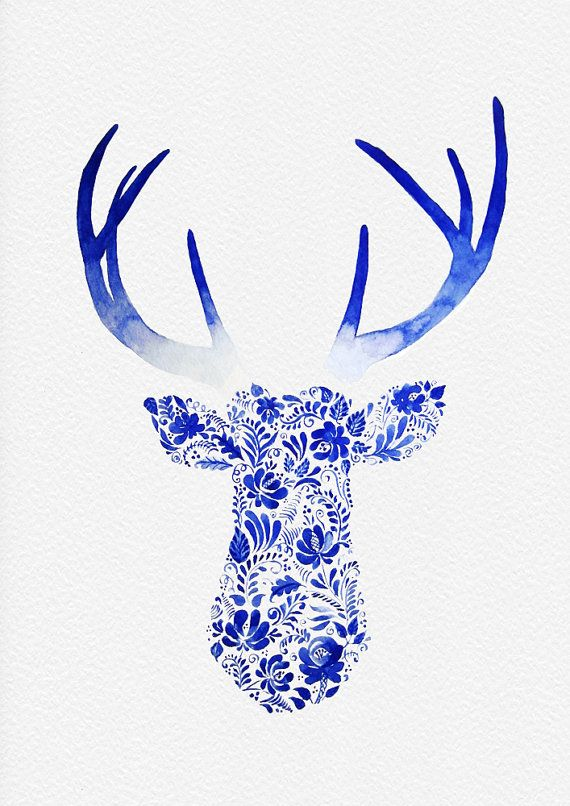 570x806 Not A Print Original Watercolor Deer Head Painting By Theartforyou