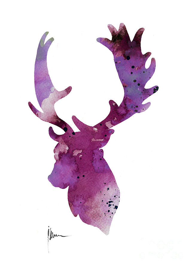 652x900 Purple Deer Head Silhouette Watercolor Artwork Painting By Joanna