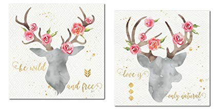 425x213 Lovely Watercolor Style Floral Deer Head Silhouette By
