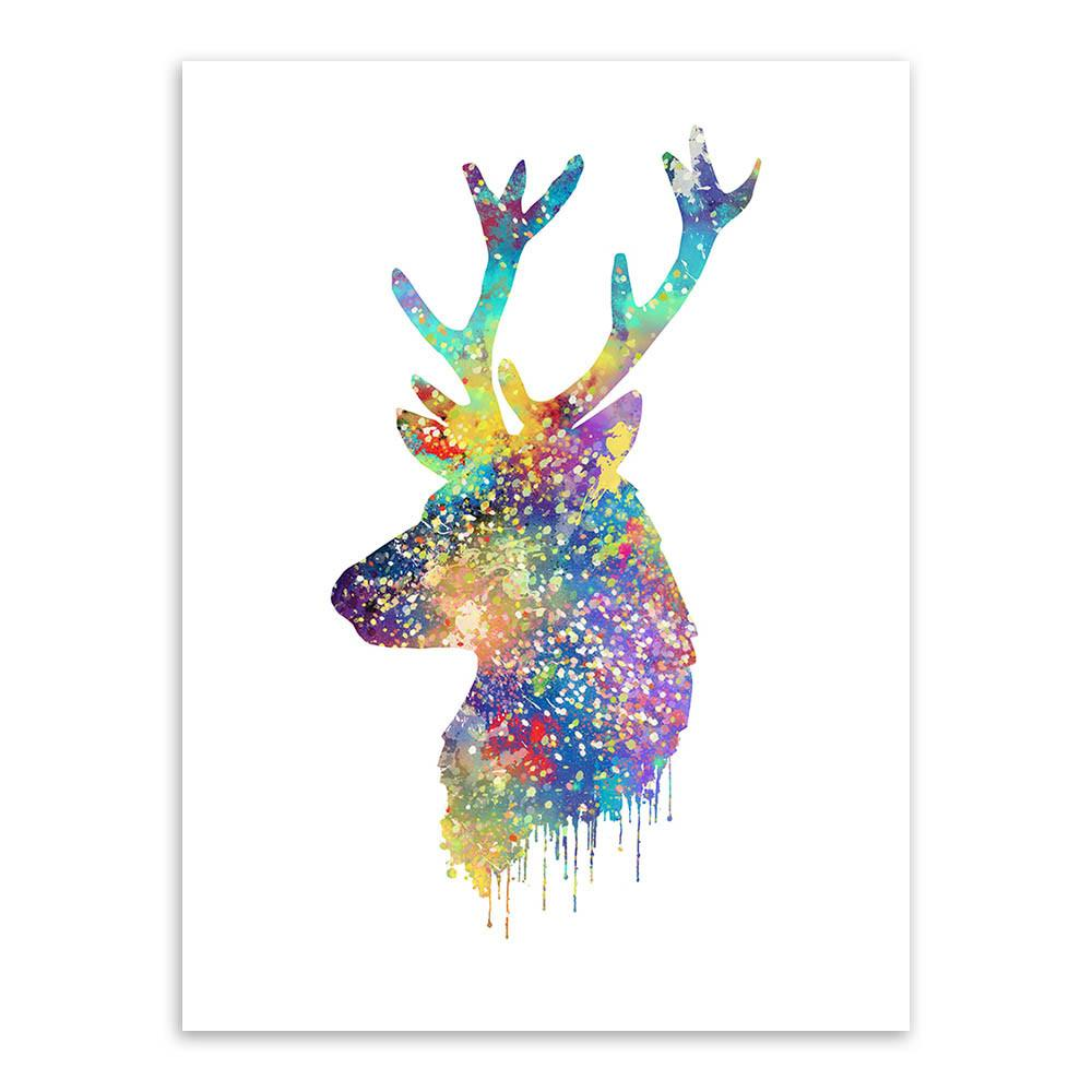 1000x1000 Triptych Watercolor Deer Head A4 Poster Print Abstract Animal