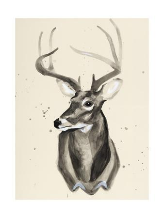 338x450 Watercolor Deer Head 3 Premium Giclee Print By Ben Gordon