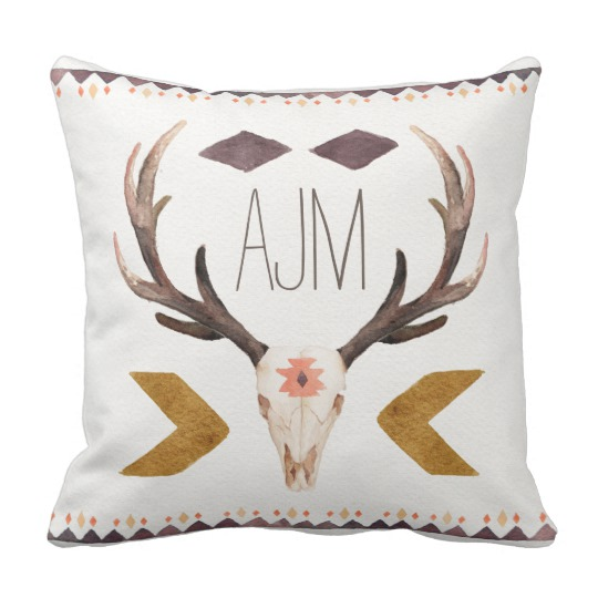 540x540 Watercolor Ethnic Deer Head Skull Throw Pillow