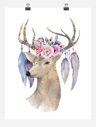 363x480 Boho Deer Head Tribal Watercolor Nursery Wall Art Print