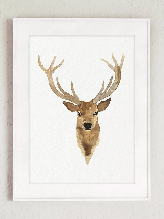 570x760 Canvas Deer Head Watercolor Painting Giclee Fine Art Print Etsy