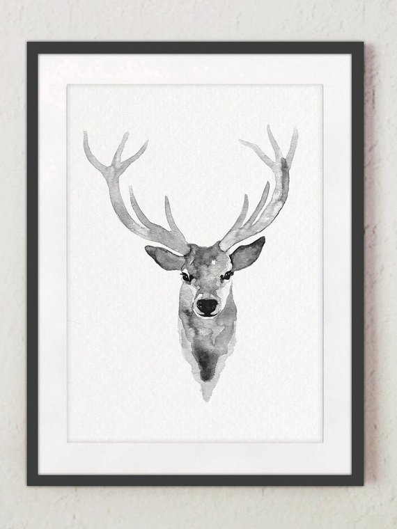 570x760 Canvas Deer Silhouette Watercolor Grey Deer Head Illustration Etsy