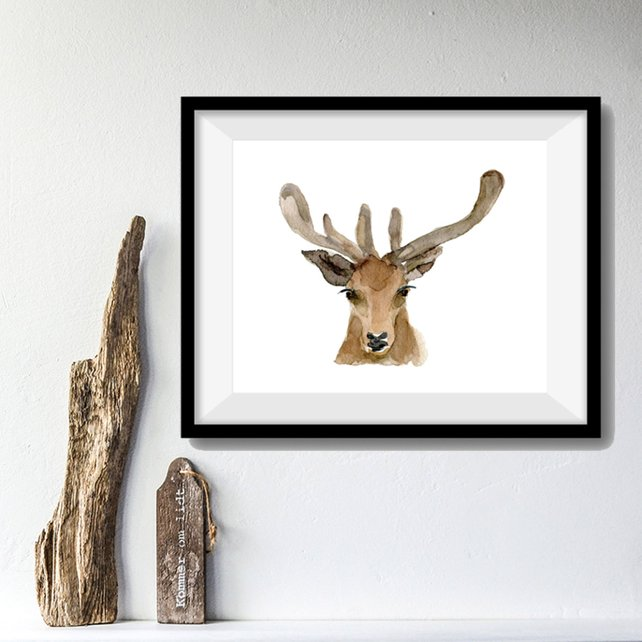 642x642 Deer Art Print Deer Head Watercolor Print Woodland Print Etsy
