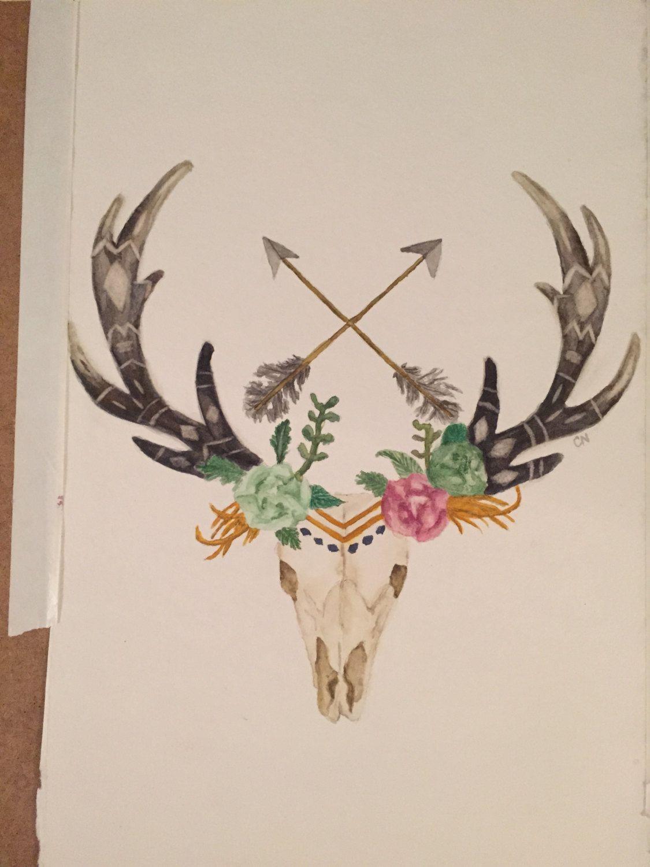 1125x1500 Deer Skull With Arrows And Flowers Watercolor, Deer, Skull, Arrows