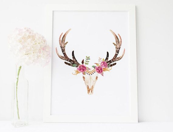570x435 Deer Skull Art Tribal Nursery, Cow Skull Wall Art Boho Gift For