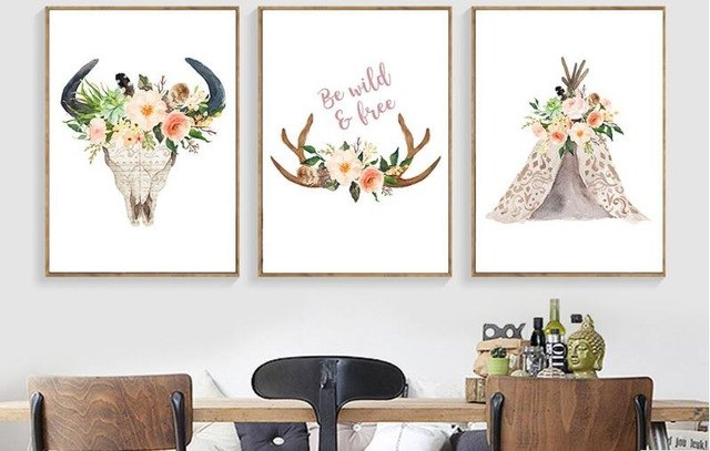 640x407 Nordic Style Painting Watercolor Floral Deer Skull Wall Art Canvas