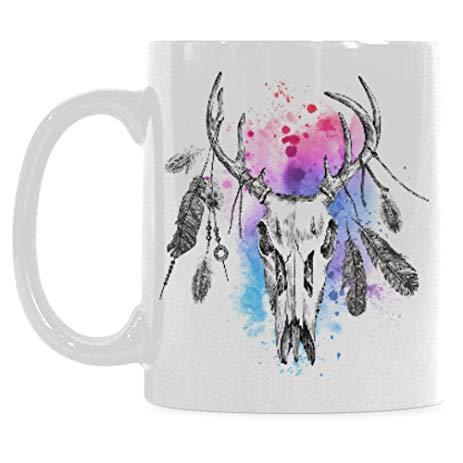 463x463 Interestprint 11 Ounce White Ceramic Boho Deer Skull