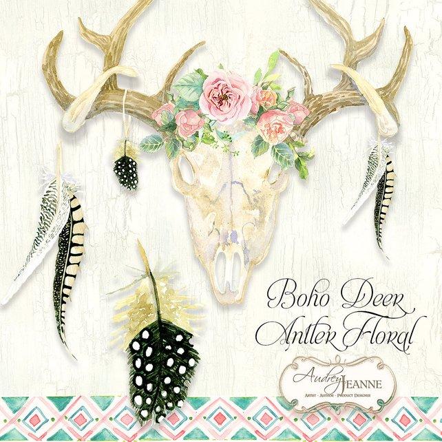 642x642 Watercolor Boho Floral Deer Antlers Deer Skull Digital Clip Etsy