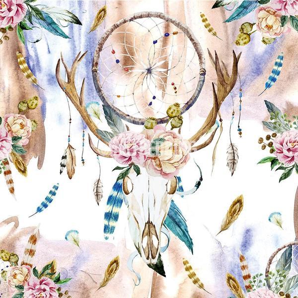 600x600 Boho Bedding, Watercolor Deer Skull Wildflowers Duvet Bedding Set