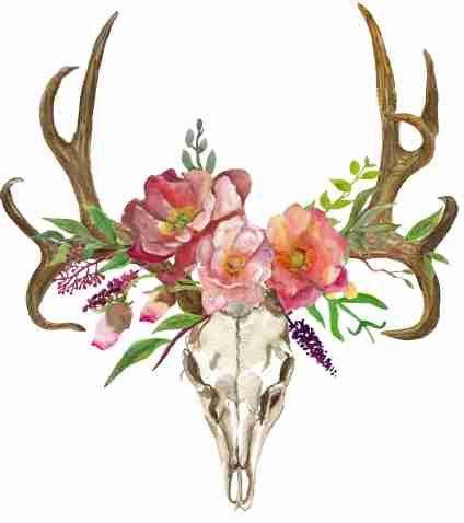 424x478 Deer Clipart, Bohemian Art, Boho Deer, Deer Skull With Flowers