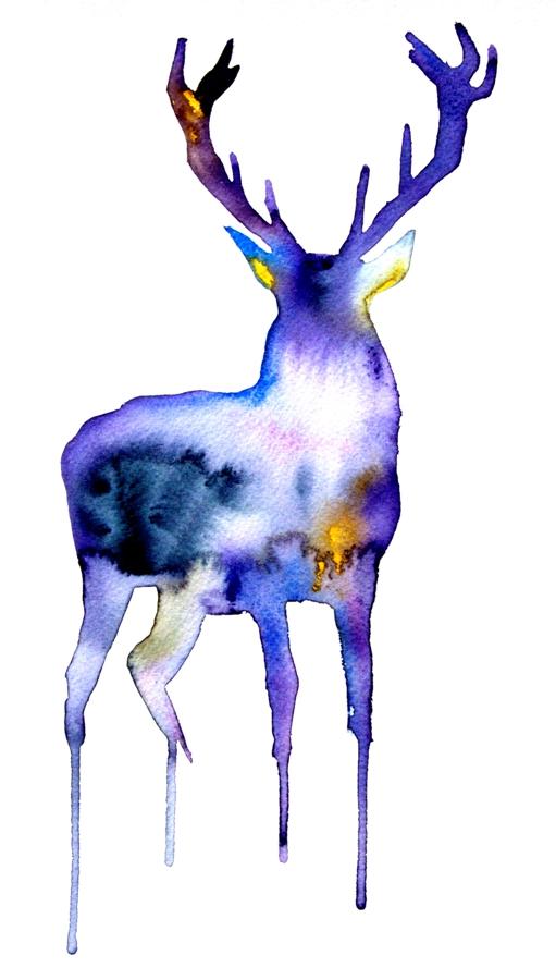 511x900 Deer Watercolor Art Print