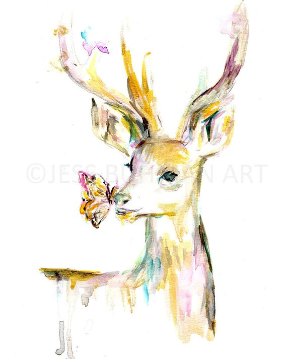 570x713 Deer Watercolor Print Deer Painting Watercolor Print Animal Etsy