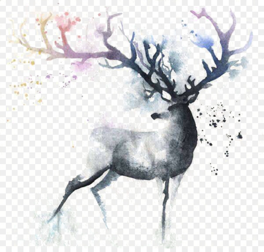 900x860 Deer Watercolor Painting Out Of The Cot Art
