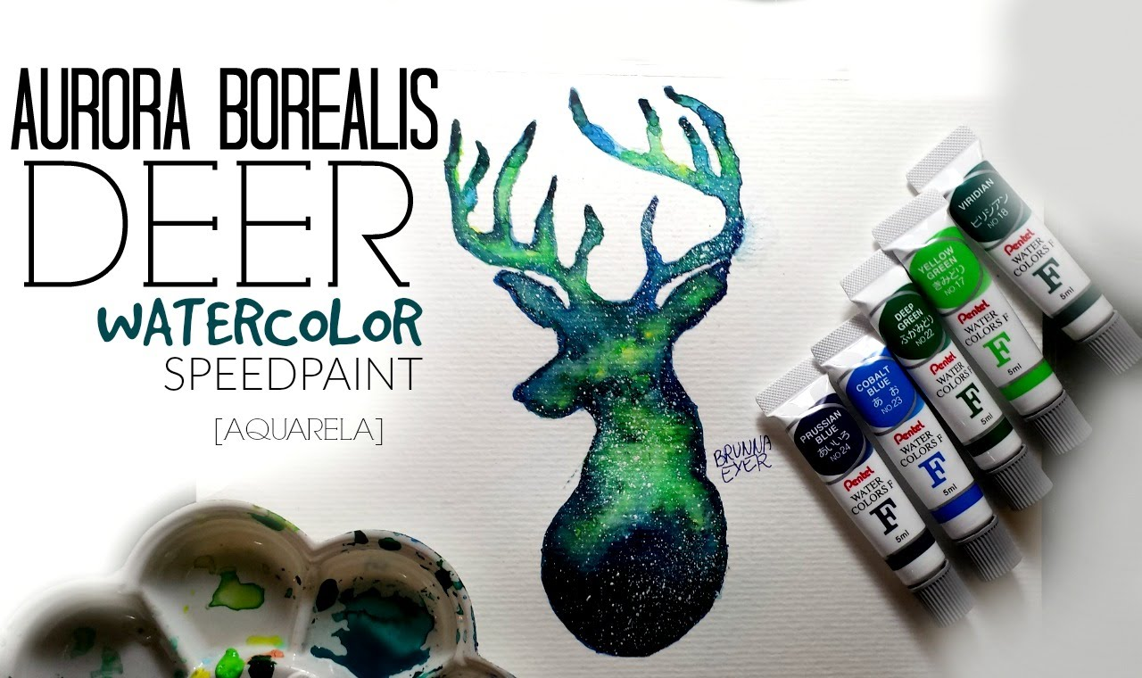 1280x760 Aurora Deer Watercolor Speedpaint [Aquarela]