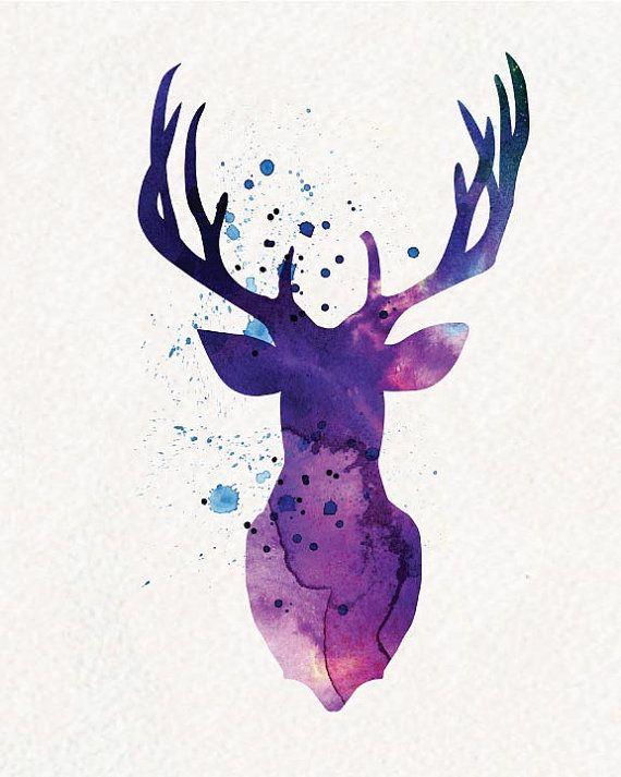 570x713 Purple Deer Watercolor Painting Wall Art Von Watercolormagazine