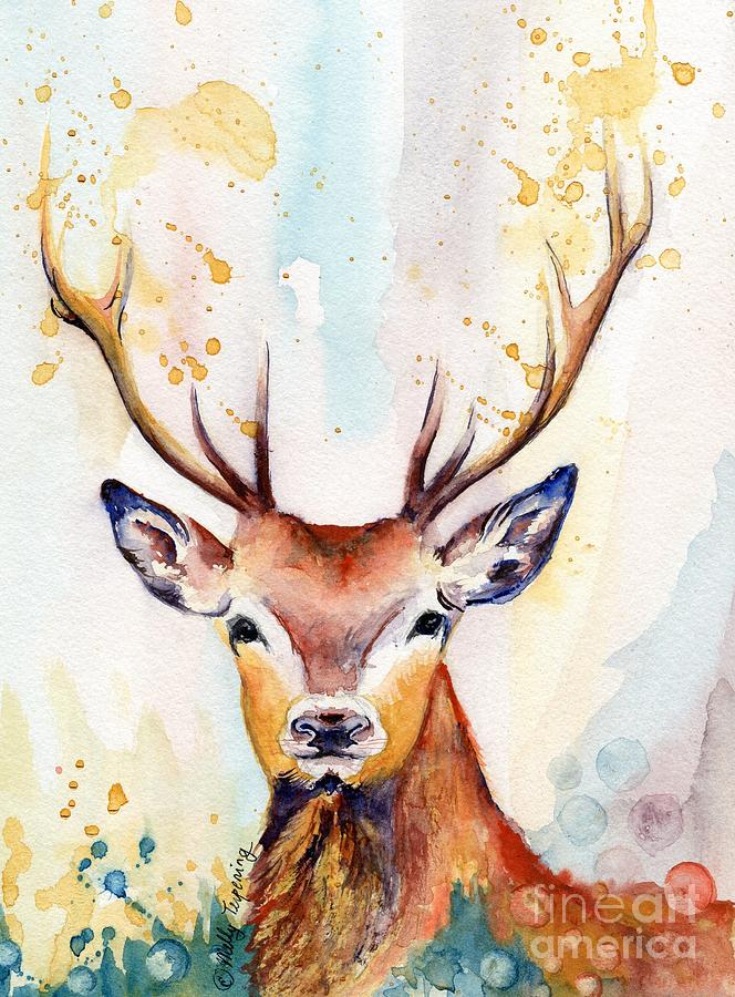 664x900 Red Deer Watercolor Painting By Melly Terpening