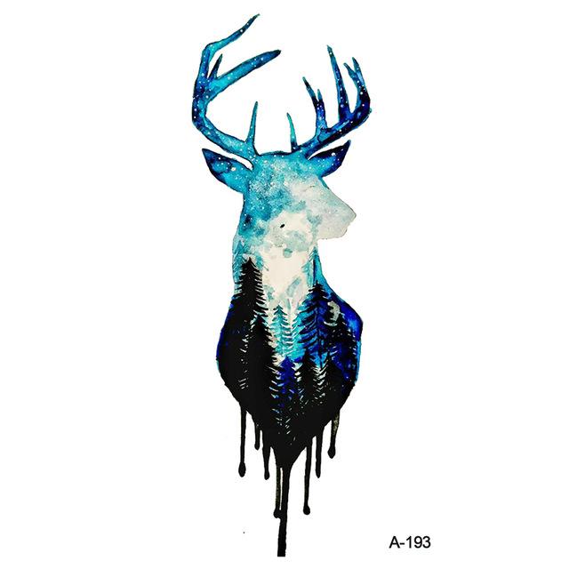 640x640 Wyuen Mysterious Forest Deer Fake Tattoo Sticker Temporary