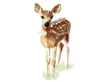 340x270 Watercolor Deer Etsy