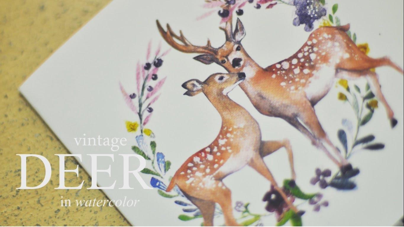 1366x770 Deer In Watercolor Speed Painting By Alodiayap
