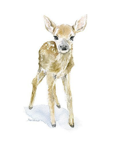 400x500 Deer Fawn Watercolor Print Handmade