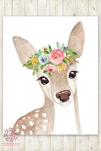200x300 Boho Watercolor Deer Woodland Wall Art Print Nursery Garden Floral