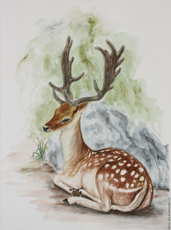 1110x1500 Deer, Watercolor, Landscape Watercolor Shop Online On Livemaster