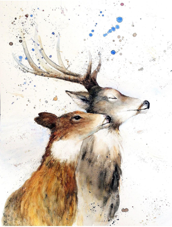 1137x1500 Deer Doe Print Of My Original Watercolour Deer And Doe Painting By